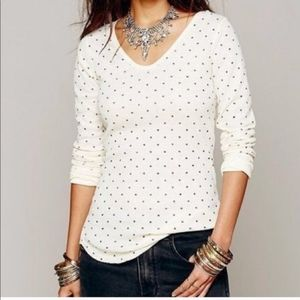 We the Free Polka Dot Waffle Thermal Henley top m
